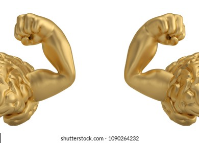 Strong gold brain and muscle brain isolated on white background. 3D illustration.