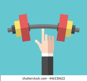 Strong hand holding big heavy dumbbell with index finger. Strength, power and success concept