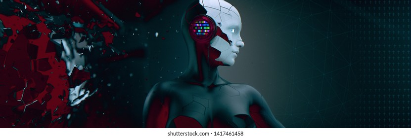 Strong image depicting technological breakthrough. Themes are Artificial Intelligence, Sound, Technology, Breakthrough, Future. 3D Illustration, 3D Rendering.