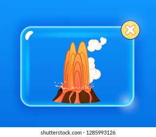 Strong jet of effluent hot lava, white clouds over top of heavy stone. Erupting rock pinnacle in glass icon with yellow cross button. raster illustration of geological formations in cartoon style.