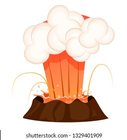 Strong jet of effluent hot lava, white clouds over top isolated. Erupting rock pinnacle volcano disaster with burning fire, last stage. raster illustration of geological formations in cartoon style.