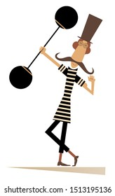 Strong long mustache weightlifter in the top hat illustrationюю Man dressed in striped athletic tights raises the heavy weight and shows his muscles isolated on white