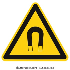Strong Magnetic Field Warning Sign Isolated Label, Hazard Safety Caution Attention Danger Risk Concept, Yellow Black Notice Vertical Adhesive Triangle Sticker Icon, Large Detailed Macro Closeup