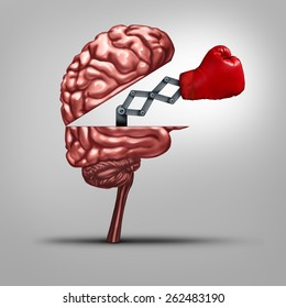 Strong memory and brain strength symbol as a human thinking organ opened to reveal a boxing glove as a concept for fighting alzheimers disease and other dimentia illnesses.
