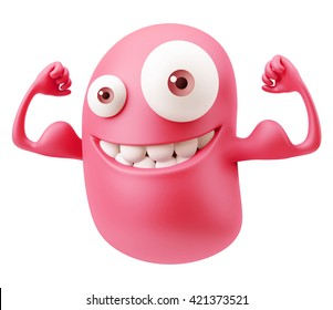 Strong Muscles Emoticon Character Face Expression. 3d Rendering.