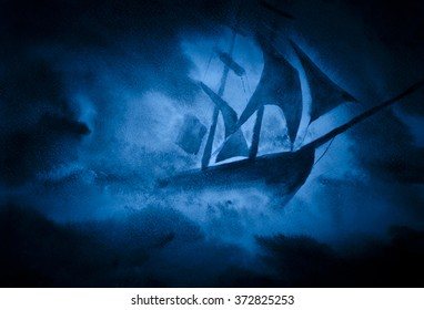 strong sea storm and the ship