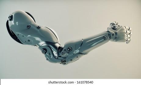 Strong stylish futuristic robot arm prosthesis / Plastic brawny cyber arm