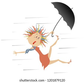 Strong wind, rain and woman with umbrella illustration. Cartoon frightened woman with umbrella gone with the wind isolated on white illustration