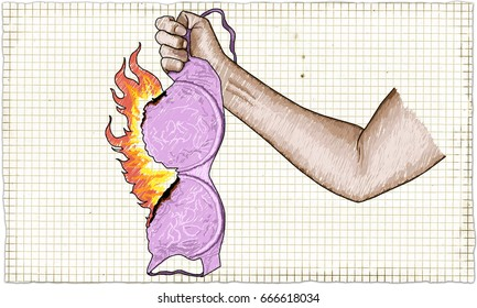 Strong Woman Fist holding Burning Bra