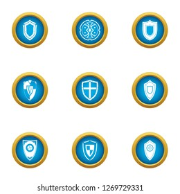 Stronghold icons set. Flat set of 9 stronghold icons for web isolated on white background