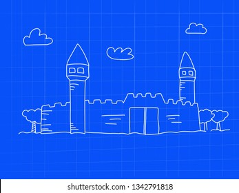 stronghold with tower blueprint concept doodle art - image