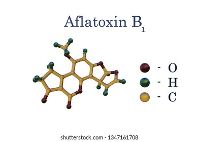 Structural chemical formula and model of aflatoxin B1, a potent hepatotoxic and carcinogenic toxin produced by fungi Aspergillus. Scientific background. 3d illustration