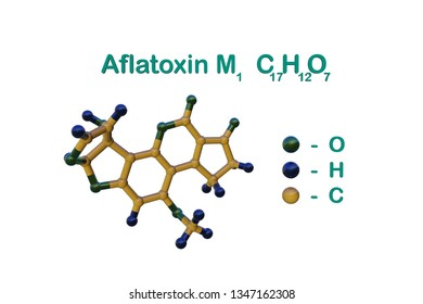 Structural chemical formula and molecular model of aflatoxin M1, carcinogenic toxin present in milk and dairy products. Healthy life concept. Scientific background. 3d illustration