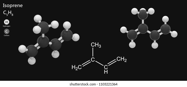 Structural chemical formula and molecular structure of Isoprene(C5H8). 3D illustration. Isolated on dark background. The molecule is shown from 2 sides.