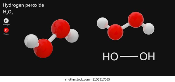 Structural chemical formula and molecular structure of hydrogen peroxide(H2O2). 3D illustration. Isolated on dark background. The molecule is shown from 2 sides.