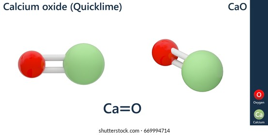 structural chemical formula and molecular structure of calcium oxide  (quicklime)  cao  3d