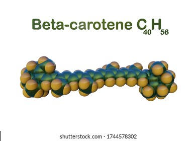 Structural chemical formula and space-filling molecular model of beta-carotene isolated on white background. It is converted into vitamin A, an essential vitamin. 3d illustration