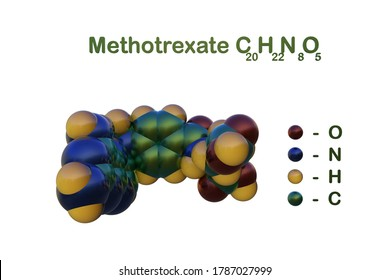 Structural chemical formula and space-filling molecular model of methotrexate isolated on white background, It is a chemotherapy agent and immune system suppressant. 3d illustration