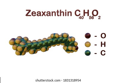 Structural chemical formula and space-filling molecular model of zeaxanthin, the dietary supplement that support eye and skin health. Scientific background. 3d illustration