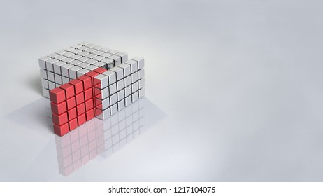 Structure composed of blocks. Sample extracted from it. 3D illustration