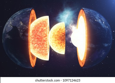 Structure core Earth. Structure layers of the earth. The structure of the earth's crust. Earth cross section in space view. Elements of this image furnished by NASA. 3D rendering