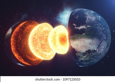 Structure core Earth. Structure layers of the earth. The structure of the earth's crust. Earth cross section in space view. Elements of this image furnished by NASA. 3D rendering, 3D illustration