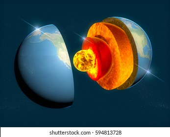 Structure of the Earth, the section of the earth's crust. 3d rendering. Element of this image is furnished by NASA