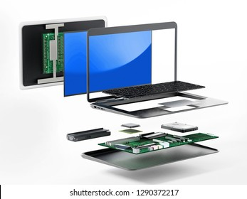 Structure of laptop computer showing spare parts. 3D illustration.