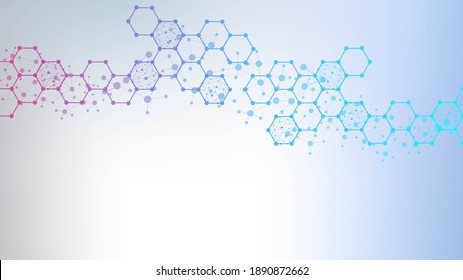 Structure molecule and communication. Dna, atom, neurons. Scientific concept for your design. Connected lines with dots. Medical, technology, chemistry, science background.  illustration.