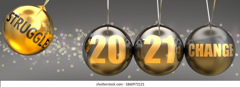Struggle as a driving force of change in the new year 2021 - pictured as a swinging sphere with phrase Struggle giving momentum to 2021 that leads to a change, 3d illustration
