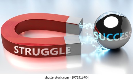 Struggle helps achieving success - pictured as word Struggle and a magnet, to symbolize that Struggle attracts success in life and business, 3d illustration