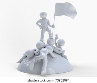 Struggle. A proud winner holding a flag.