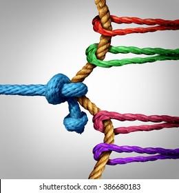 Kampf um den Erfolg des Krieges gegen eine große Gruppe von Konkurrenten als ein Team von Seilen arbeiten und zusammenziehen, um zu gewinnen, einen einzigen Rivalen oder einen Sieger gegen viele.