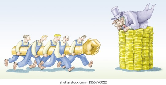 struggle of united working classes they launch against an industrialist barricaded on tower of coins