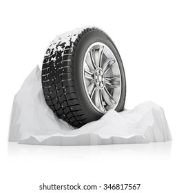 studded winter tire in a snow on a white background
