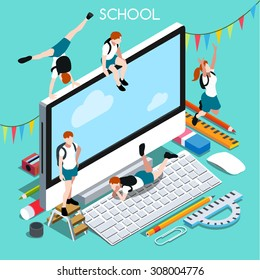 Student Computer 4 Back to School.School work on Student Laptop.Teen Computer 4 School Homework.Desktop Teen PC 3D Flat isometric people infographic.Computer Screen and Group of Students illustration
