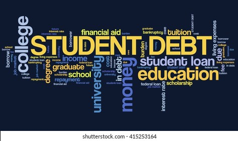 Student debt - college education loan word collage.