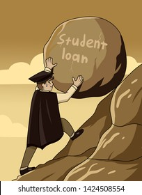Student Loan concept with a graduate pushing a large heavy rock up a steep mountain conceptual of the burden of paying off the debt, necessity of education, ambition and perseverance