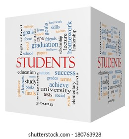 Students 3D cube Word Cloud Concept with great terms such as education, learn, goals and more.