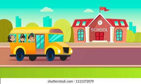 Students go to school on the schoolbus.