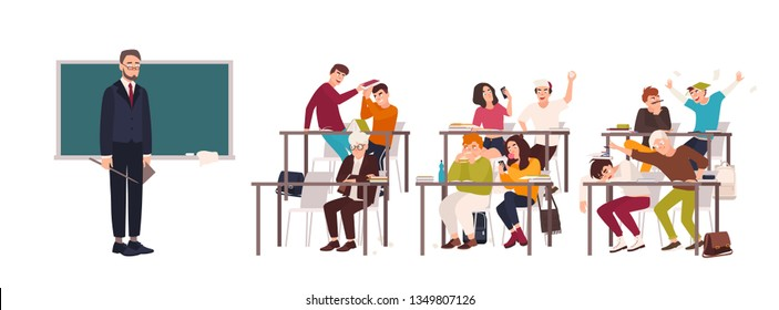 Students sitting at desks in classroom and demonstrating bad behavior - fighting, eating, sleeping, surfing internet on smartphone during lesson and teacher looking at them. Flat illustration.