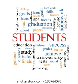 Students Word Cloud Concept with great terms such as education, learn, goals and more.