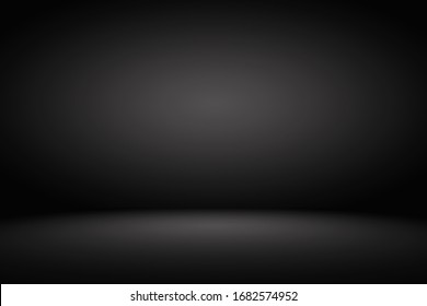 Studio backdrop wallpaper inside room wall light black and empty space. Abstract dark gray gradient spotlight floor texture background.