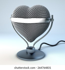 Studio desk microphone in heart shape, in front of light blue, gray background,  3d rendering