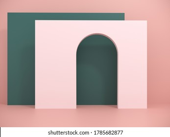 Studio with geometric objects and arch. Exhibition Podium, stand, showcase on pastel light background for premium product  -3D render. Architectural background for advertising products, presentations.