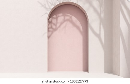 Studio with geometric objects and arch. Staircase with steps - podium, stand, showcase on pastel light background for premium product  -3D render. Stylish trendy illustration, graphic design.