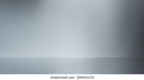 Studio grey background. Elegant, warm horizontal studio wall abstract texture. Dim gradient, soft white smoke, light silver gray or bluish-gray wall background, and grey floor. Digital illustration.
