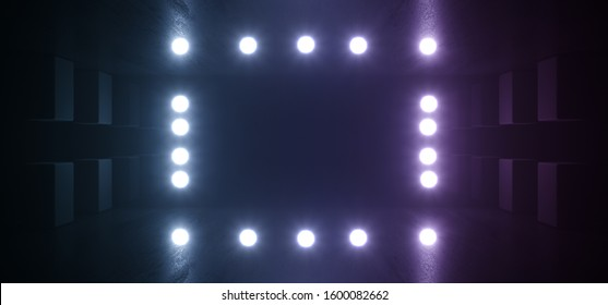 Studio Led Lights Dark Garage Grunge Concrete Reflective Circle Dot Lamps Glowing Cinematic Blue Purple Glare Background 3D Rendering Illustration