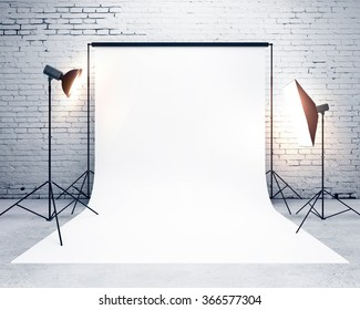 studio with a light set-up and backdrop