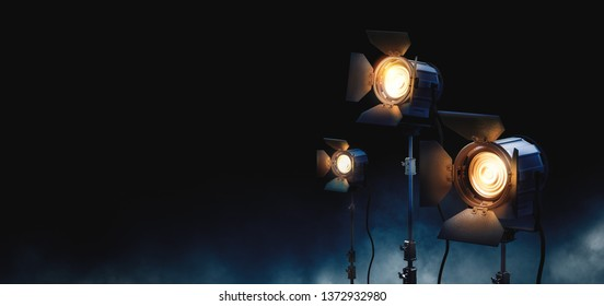 studio lights used for movies and television. / movie background concept / high contrast image / 3D rendering